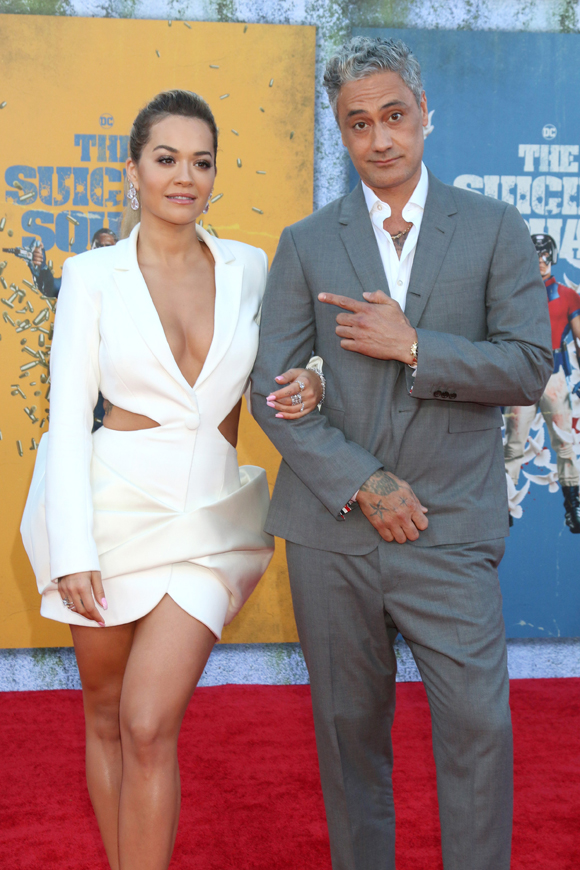 Rita Ora and Taika Waititi on the red carpet at The Suicide Squad premiere